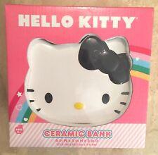 NIB Sanrio HELLO KITTY COIN BANK Ceramic Face in ORIGINAL BOX Unused