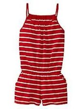 NWT GAP KIDS SPAGHETTI STRAP STRIPE SHORTS ROMPER PURE RED 100% COTTON (XS) 4-5