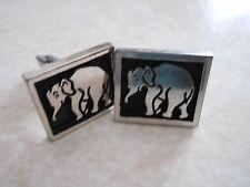 J&S Vintage sterling shadowbox cufflinks - elephant
