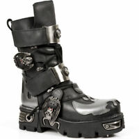 New Rock M.195-S2 Black Flame Silver Leather Metal Buckle Strap Designer Boots