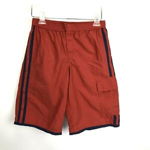 Columbia Boys Nylon Swim Trunk Shorts Youth L 14/16 Orange Hook and Latch Cargo