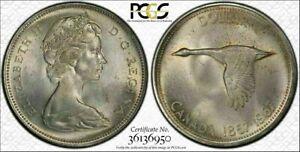 1967 CANADA GOOSE SILVER $1 DOLLAR BU PCGS MS64 TONED HIGH GRADE COIN