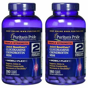 2 X Puritans Pride Triple Strength Glucosamine Chondroitin MSM Joint Soother