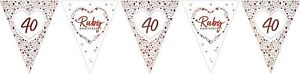 Ruby Wedding Party Bunting Decoration Sparkling Shiny 40th Anniversary Banner
