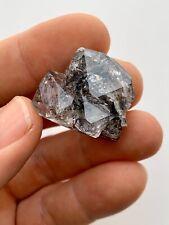Beautiful Black Herkimer Diamond Quartz Crystal, Rainbows, Unique formation