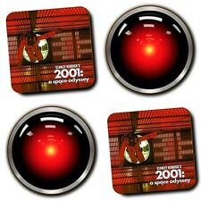 2001 A Space Odyssey Movie - Hal 9000 - Coasters - Wood - Set Of 4 - Sci-Fi