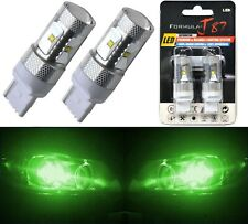 LED Light 30W 7440 Green Two Bulbs Front Turn Signal Replace Upgrade Show