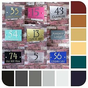 Contemporary House Sign Door Number Address Plaque Modern Acrylic Rectangle A5