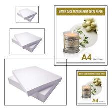 20x Inkjet Water Slide Decal Paper A4 Size Clear Waterslide Transfer Paper