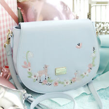 Japanese Kawaii Mori Girl Elegant Lolita Embroidery Versipacks Blue Shoulder Bag