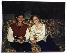 Vintage 80s PHOTO Boy & Girl Sitting On Rose Print Couch Sofa