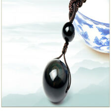 Black Stone Obsidian Necklace Ball Bead Pendant Stone Jewelry Gift Creative Use