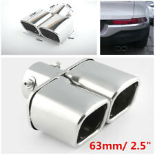 For Car SUV 63mm Stainless Steel Square Dual Pipe Exhaust Tail Throat Muffler