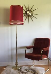 Hollywood Regency style Mid Century Modern  Brass Floor Lamp With Burgundy Shade