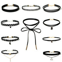 10 Pcs/Lot Choker Necklaces Black Classic Velvet Stretch Gothic Tattoo Necklace