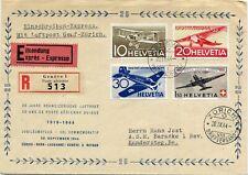 SWITZERLAND 1944  registered letter express air mail  st.  from ZURICH to Kander