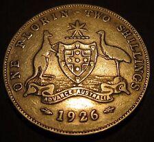 1926 Australia 2/- Two Shillings One Florin ** ERROR DIE CRACK ** #26-F-01