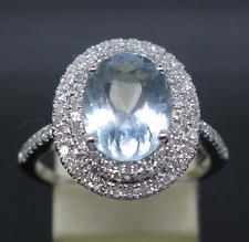 Genuine 3.2CT Oval Cut Aquamarine 14K Solid  White Gold Natural Diamond Ring