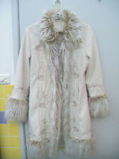 BOHO TREE OF LIFE EMBROIDERED AFGHAN FUR COAT SIZE MEDIUM