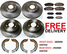 FOR NISSAN X TRAIL (01-06) FRONT AND REAR BRAKE DISCS AND PADS & HANDBRAKE SHOES