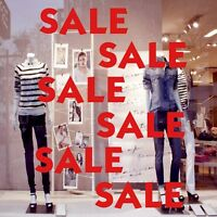 x6 SALE Shop Window Glass Sign Vinyl Stickers Retail Store Display Decals 28 x 9