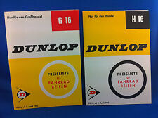 2 Dunlop Preislisten Fahrradreifen H16 G16 1965 Handel Grosshandel ***WIE NEU***