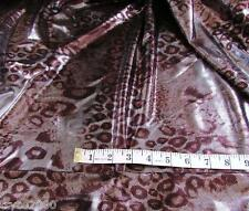 BY THE YARD POLY LYCRA 4W STRETCH BROWN LEOPARD w/METALLIC ALL OVER WET LOOK NEW