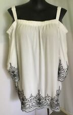 "AUTOGRAPH OFFWHITE/NAVY ""BROIDERY SLEEVE"" OFF SHOULDER BOHEMIAN TOP-SIZE 26-NEW"