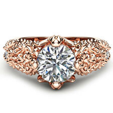 Charm Women Wedding Ring Rose Gold Filled Round Cut White Sapphire Ring Size 8