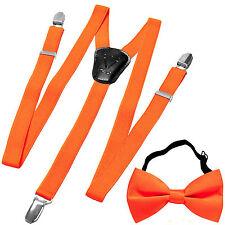 New Y back Kid's Boy's Suspender adjustable strap clip on & bowtie formal Orange
