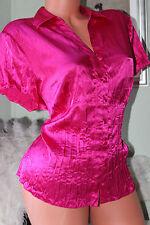 Collection Debenhams fucshia pink crinkly faux satin shirt blouse top size 18