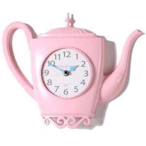 Modern Kettle Wall Clock Creative Design Art Metal Kitchen Clock Gift - M100Pink