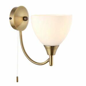 Endon Alton Indoor 1lt 60W E14 Wall Light Dimmable Antique Brass & Opal Glass