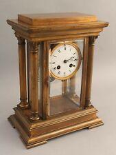 19thC Antique French Gilded Bronze Crystal Regulator Clock w/ Columns & Pendulum