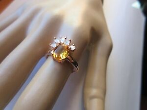 CLASSIC OVAL 9X7MM GENUINE RICH YELLOW CITRINE & CZ RING 925 STERLING SILVER SZ/