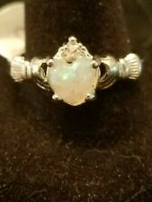 US SELLER WHITE FIRE OPAL SIMULATED Heart Claddagh Silver Plated Ring SIZE 10