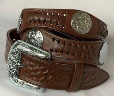 MEN'S BELTS casual western accessories dark BROWN LEATHER CONCHO BELT 44 NWOT!