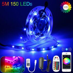 5m-20m RGB 5050 SMD LED Stripe Leiste Streifen Band Bluetooth APP Fernbedienung