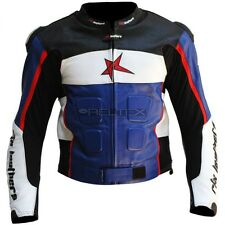 RTX GP Tech White Black Blue CE Armoured Leather Sports Biker Jacket 42in LGE