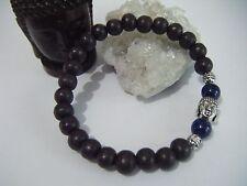 Bracciale unisex spirituale Mala Buddha Lapislazzuli 3rd Eye Perline Legno Eco Yoga