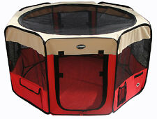 Pet Puppy Dog Cat Playpen Exercise Pen Kennel 600d Crate Cage Tent Red Beige
