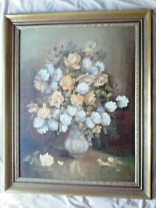 Vintage Large Still Life Painting of Flowers on Canvas in timber Frame Joan Page