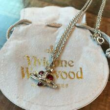 VIVIENNE WESTWOOD ORB NECKLACE GENUINE USED LADIES SILVER RED COLOR