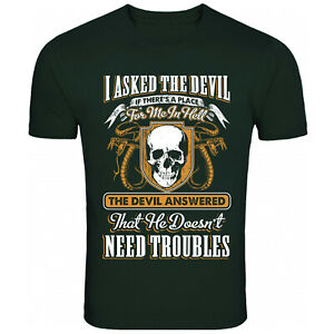 Devil Place In Hell Troubles Skull T Shirt Funny T-Shirt Mens Womens Unisex Tee