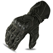 Motorbike Gloves Motorcycle Racing Touring Biker Cowhide Leather Black,1655 M-1