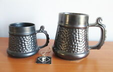 Prinknash Abbey Mug x 2 Gun Metal Grey Hammered 1 Large 1 Small Hang Tag England