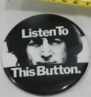 JOHN LENNON LISTEN TO THIS BUTTON BADGE PIN BACK VINTAGE EMI