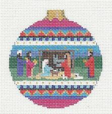 Holy Family Nativity handpainted Needlepoint Canvas Ornament by Susan Roberts