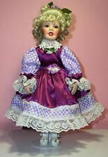 Vintage Porcelain Musical Beautiful Doll Sweden style,light blonde curly hair,