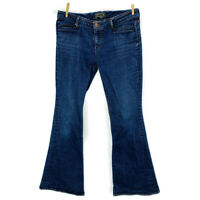 SEVEN 7 Low Rise Dark Wash Stretch Flare Leg Denim Blue Jeans Womens Size 30